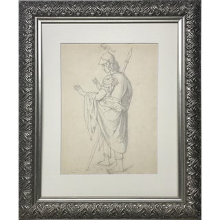 19th C. Antique Neoclassical Graphite Drawing of a Greco Roman Soldier For Sale