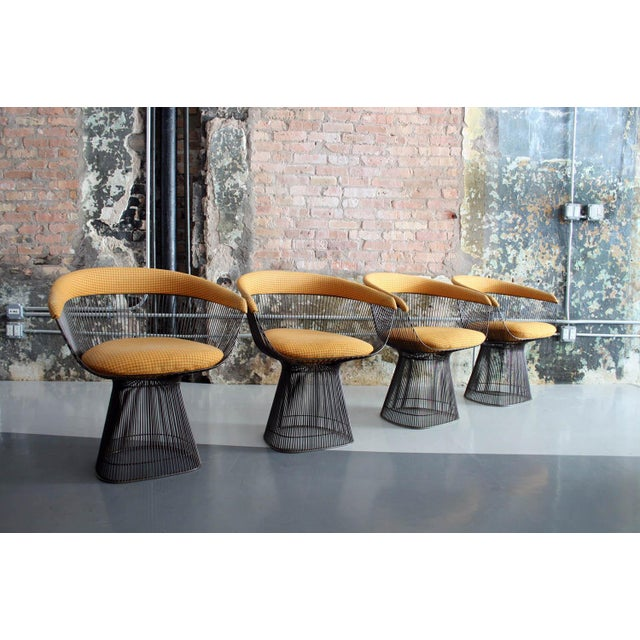 Original Walnut and Bronze Dining Set With 4 Chairs by Warren Platner for Knoll For Sale - Image 9 of 13