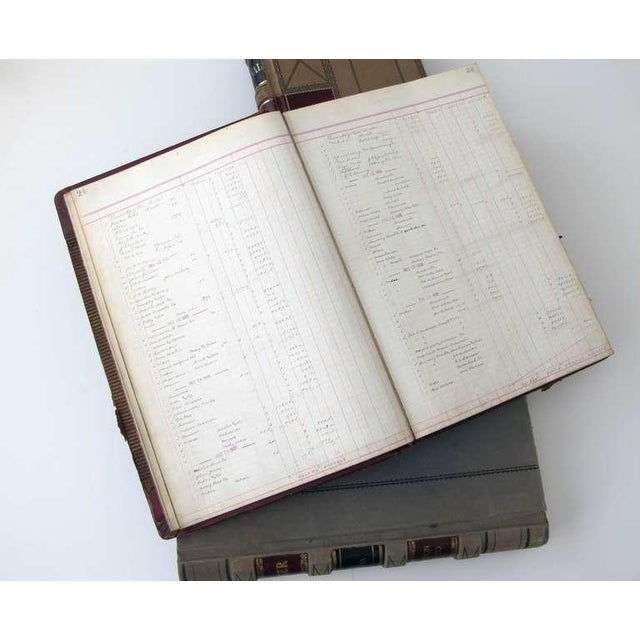 Early 20th Century A Large and Unique Set of 4 Leather-Bound Accounting Ledgers with Gilt Highlights For Sale - Image 5 of 6