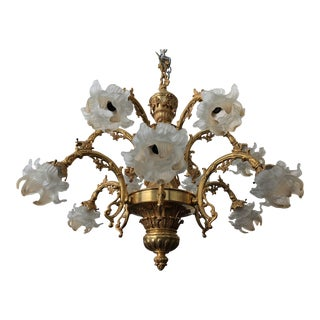 Spanish Gold & Amber Glass Flowers Chandelier