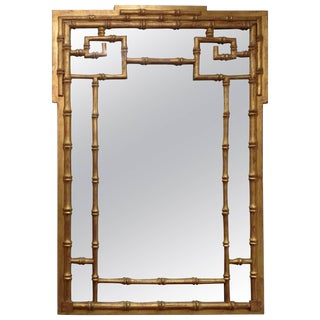 Italian Carved Wood Faux Bamboo Wall Mirror For Sale