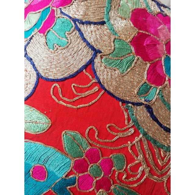 Anglo-Indian Silk Embroidered Tapestry Cushions With Ikat Backs For Sale - Image 10 of 13