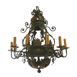 20th C. French Huge Wrought Iron Chandelier