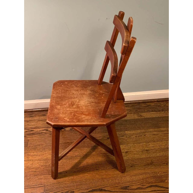 1920s Primitive Pair of Cherrywood Side Chairs in the Manner of Jean Touret For Sale - Image 5 of 11