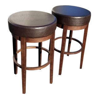 Pair of French Country Brown Leather Barstools Counter Stools For Sale