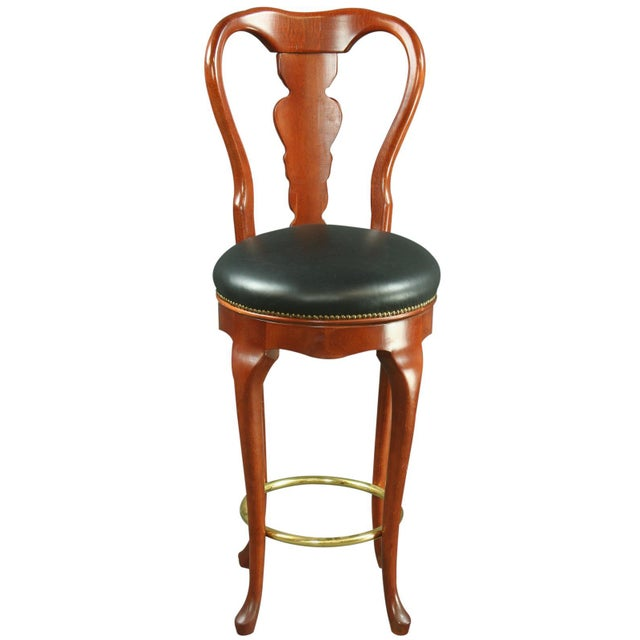 Queen Anne New Swivel Bar Stools - Pair - Image 3 of 6