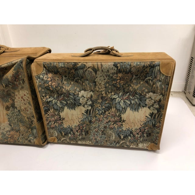 1980s Vintage 3 Piece Tapestry Canvas & Leather Luggage Set by the French Company For Sale - Image 5 of 13