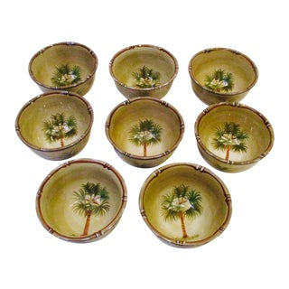Hand Painted Bora Bora Tiki Palm Tree Tropical Bowls - Set of 8 For Sale