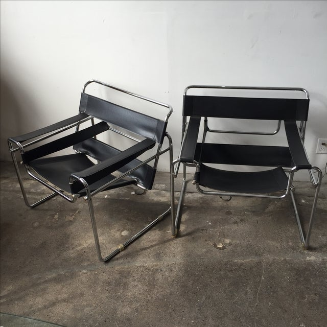 Wassily Style Chrome & Black Leather Chairs - Pair - Image 2 of 11