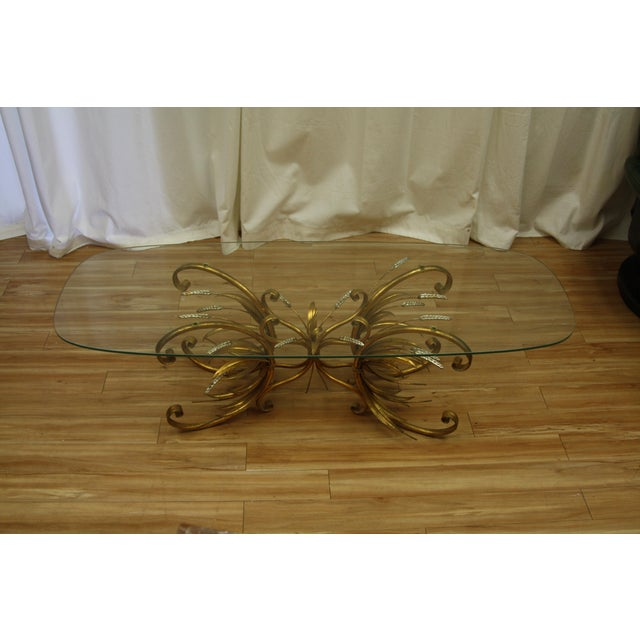 Metal Vintage Gold Gilt Flower Wheat Sheaf Coffee Table For Sale - Image 7 of 7