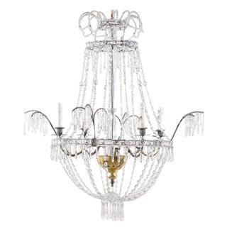 Italian Crystal Four-Light Chandelier With Crystal Center Column For Sale
