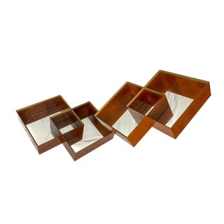 1970s Mid-Century Modern Wall Mirror Boxes - a Pair For Sale