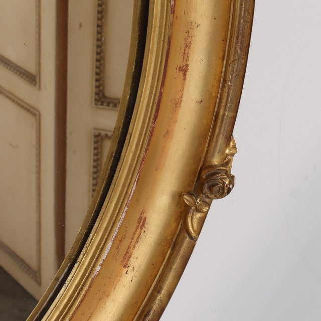 Wood French Louis XV Style Giltwood Oval Mirror For Sale - Image 7 of 11