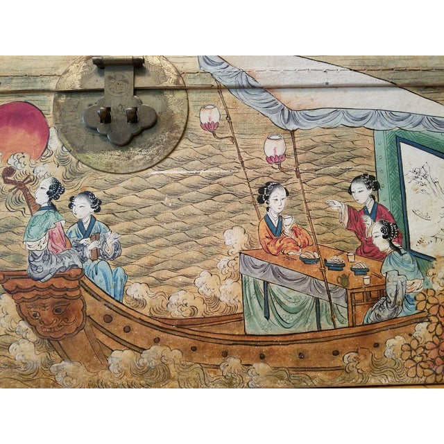 Antique 1900 Quot Courtesans Boating Quot Chinese Hand Painted Pigskin Wedding
