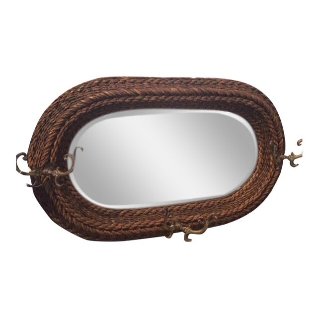 Image of 1920s Rustic Rope and Brass Mirror With Hooks