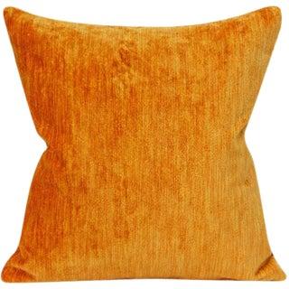 Mid Century Modern Vintage Cognac Cotton Velvet Pillow Cover For Sale