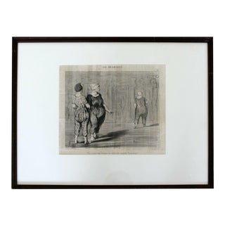 Antique 19th Century Honore Daumier Framed Les Baigneuses Etching 1800s For Sale