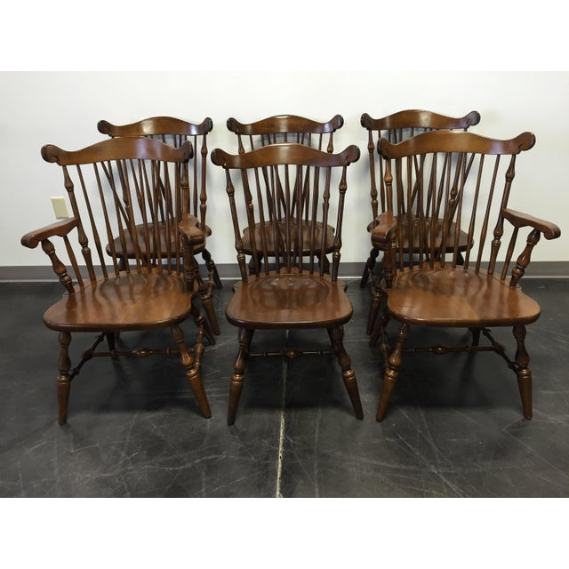 Here is a set of six (6) dining chairs from top-quality furniture maker Temple-Stuart. Solid maple, Windsor style. Two...