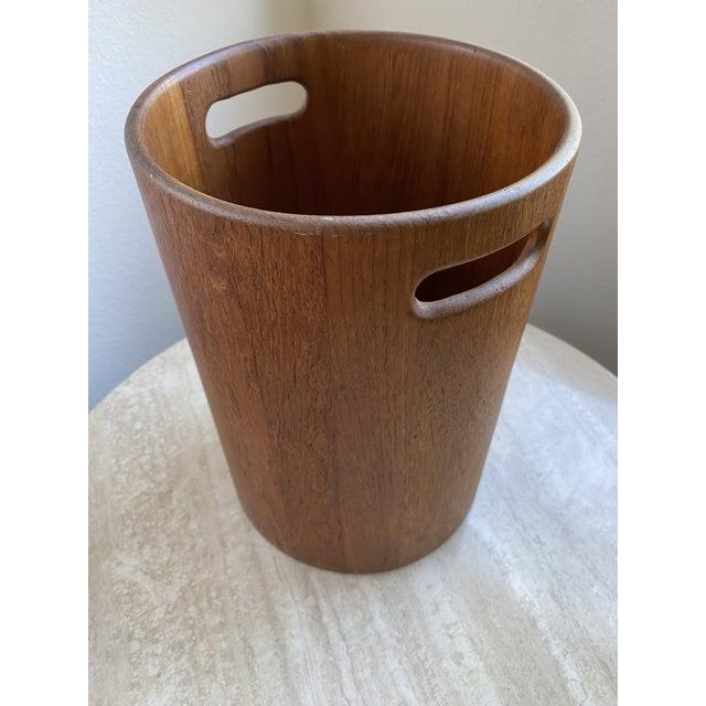 Mid-Century Modern Danish Mid Century Modern Teak Wastebasket For Sale - Image 3 of 9