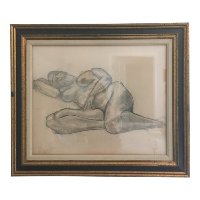 """Vintage Large Mid-Century Art Deco Abstract """"Laying Woman Figure Nude"""" Pencil Drawing For Sale"""