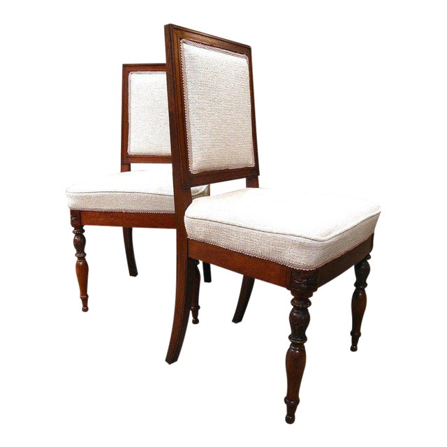 19th Century French Walnut Square Back Chairs - a Pair - Image 1 of 9