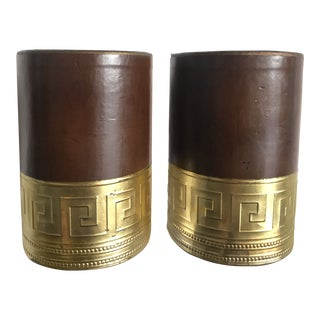 1960s American Classical Greek Key Leather Bookends - a Pair