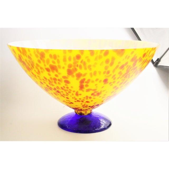 Glass 20th Century Sasaki Vetro Murano Yellow Speckle Pedestal Console Bowl For Sale - Image 7 of 7
