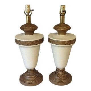 Vintage Urn Vase Table Lamps in White & Gold For Sale
