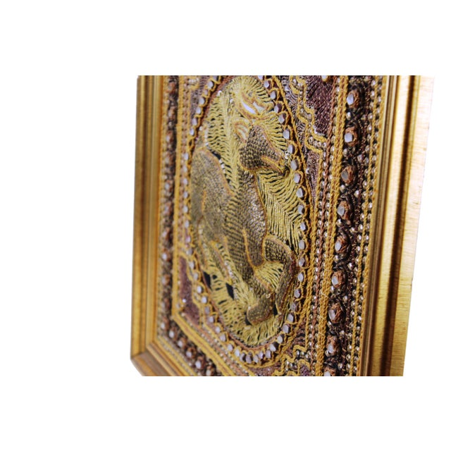 1980s Pasargad DC Hand Made India Beaded Gazelle Raised Wall Art - a Pair For Sale - Image 5 of 12