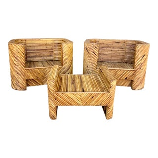 Stacked Bamboo Club Chairs and Ottoman in the Manor of Gabriella Crespi - Set of 3 For Sale