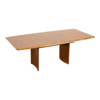 Vintage Mid Century Danish Modern Teak Wood Extendable Dining Table For Sale