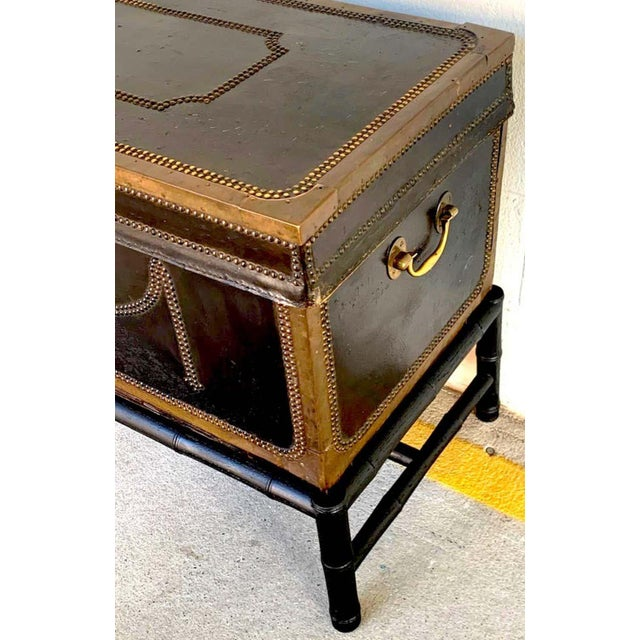 Brown 19th Century English Regency Brass Studded Leather Chest on Stand For Sale - Image 8 of 10