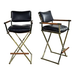 Vintage Directors Chair Style Bar Stools Brass Plate Oak and Black Vinyl - a Pair For Sale