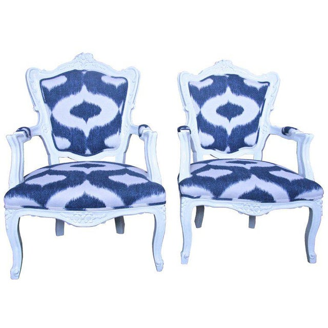 Italian White Lacquered Armchairs For Sale - Image 9 of 9