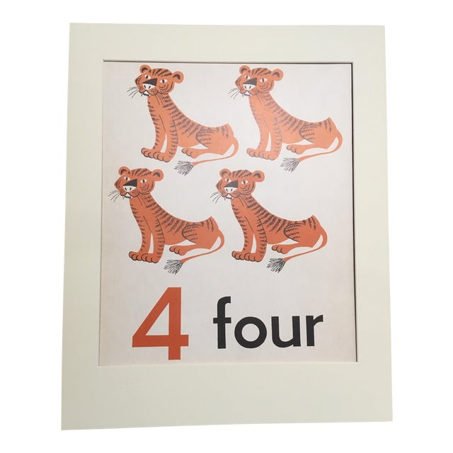 """Vintage Mid Century Teaching Poster, Numbers - """"4"""" For Sale"""