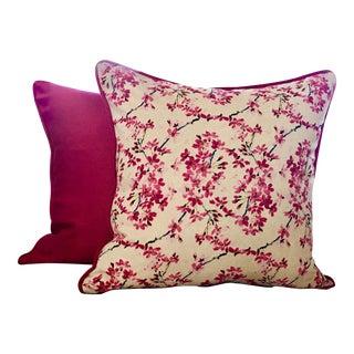 Custom Fuchsia Floral Print Pillows - A Pair For Sale