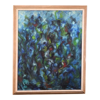 1966 Signed Abstract Modernist Oil Painting