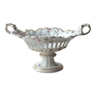 Antique French Reticulated Porcelain Basket -Corbielle -Old Paris Porcelain -UrnForm Center Bowl For Sale