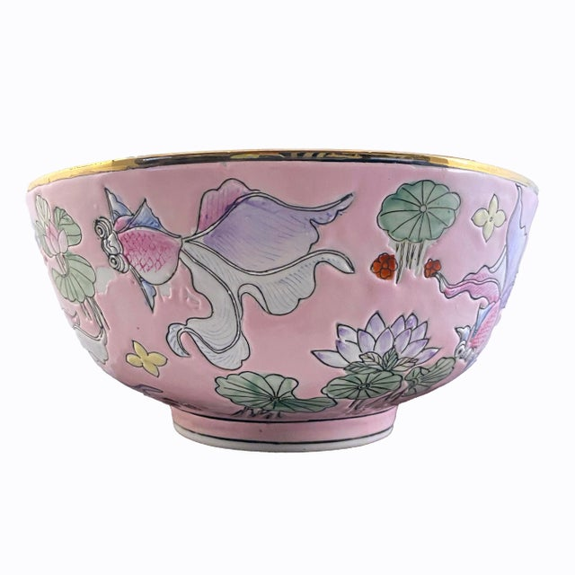 Chinese Vintage Chinese Fancy Goldfish Bowl Pink With Gold For Sale - Image 3 of 6
