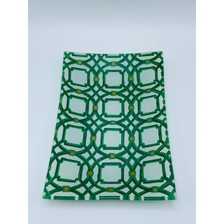 Green and White Lattice Motif Catchall Dish Preview