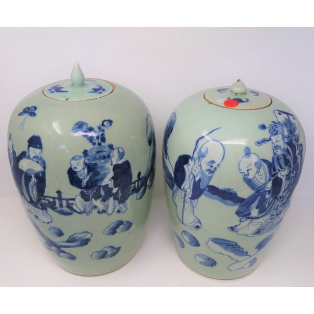 Chinese Chinese Lidded Ginger Urns - a Pair For Sale - Image 3 of 5