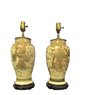 Antique Asian Ceramic Lamps With Hand Painted Designs - a Pair For Sale