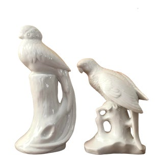 Late 20th Century White Porcelain Bird Statues - a Pair For Sale