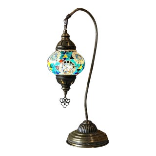 Mediterranean Ottoman Handmade Swan Neck Table Lamp For Sale