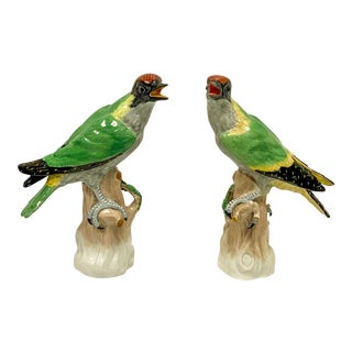 Pair of Early 20th-C. Dresden Porcelain Birds For Sale
