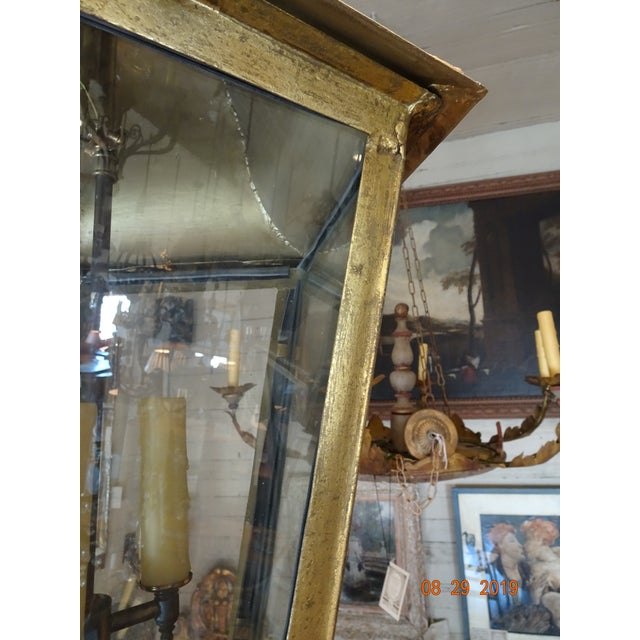 New French Iron Gold Lantern For Sale - Image 10 of 13