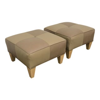 Checkered Leather Ottomans- A Pair For Sale