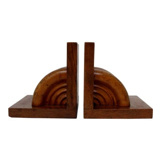 Turned Wood Bookends, a Pair For Sale