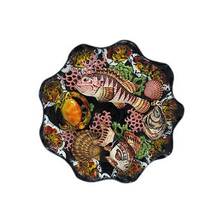 Vintage French Majolica Trompe l'Oeil Fish Plate For Sale