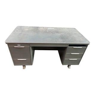 Vintage Art Deco Metal Tanker Desk For Sale